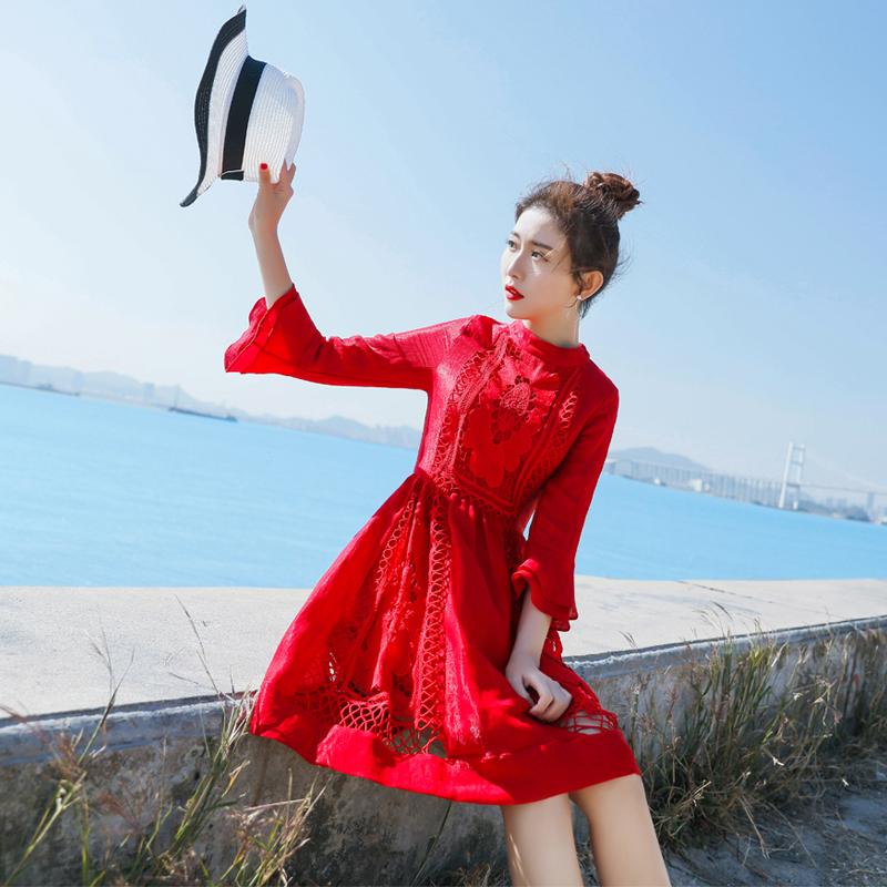 新款女2018气质蕾丝中长款复古红色连衣裙显瘦圣诞裙年会礼服裙子