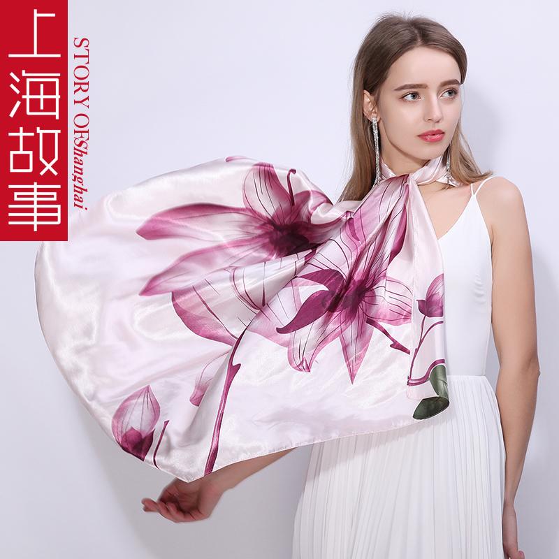 上海故事丝巾女大方巾潮牌街头春秋正方形百搭披肩秋冬季外搭时尚