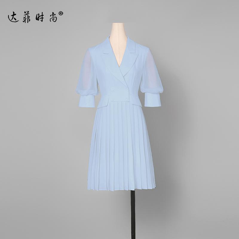 夏装2019新款女装气质修身西装裙子收腰显瘦中长款百褶雪纺连衣裙