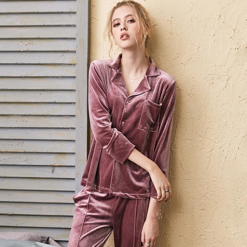 佩莎缇睡衣女秋冬新款金丝绒长袖情侣性感珊瑚绒可外穿家居服套装
