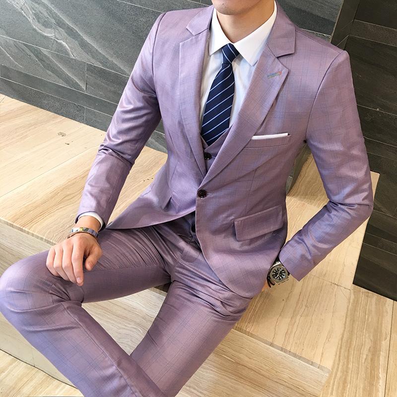 西服套装男士三件套春季修身商务职业正装男新郎西装伴郎结婚礼服