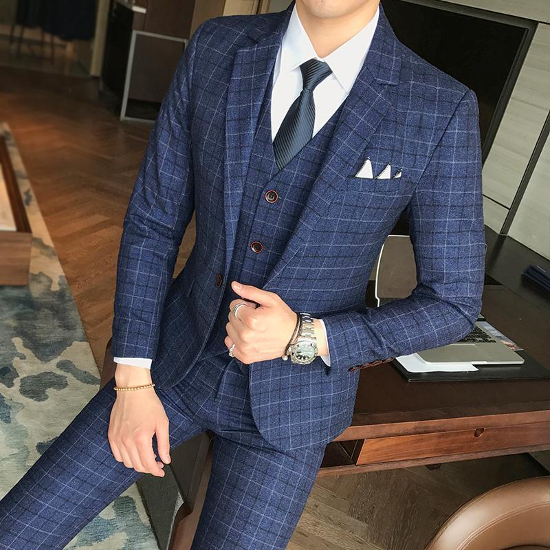青年英伦西服套装男修身三件套新郎结婚礼服伴郎商务西装职业潮流