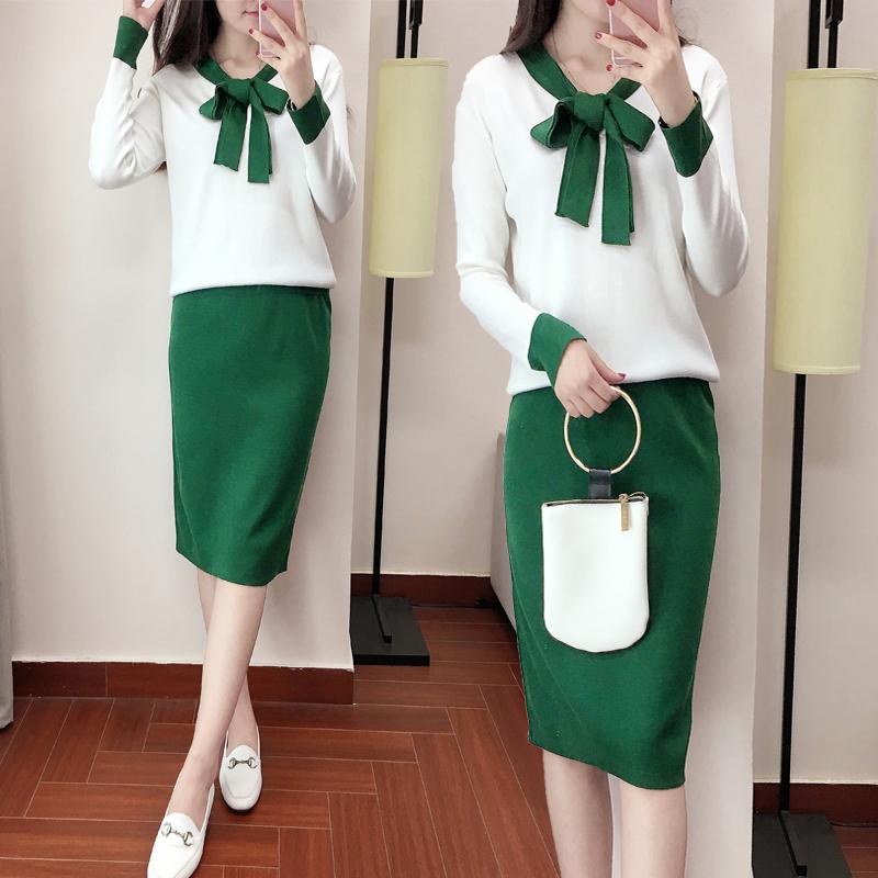针织套装女2018秋装新款韩版系带显瘦连衣裙时尚两件套女套装裙潮