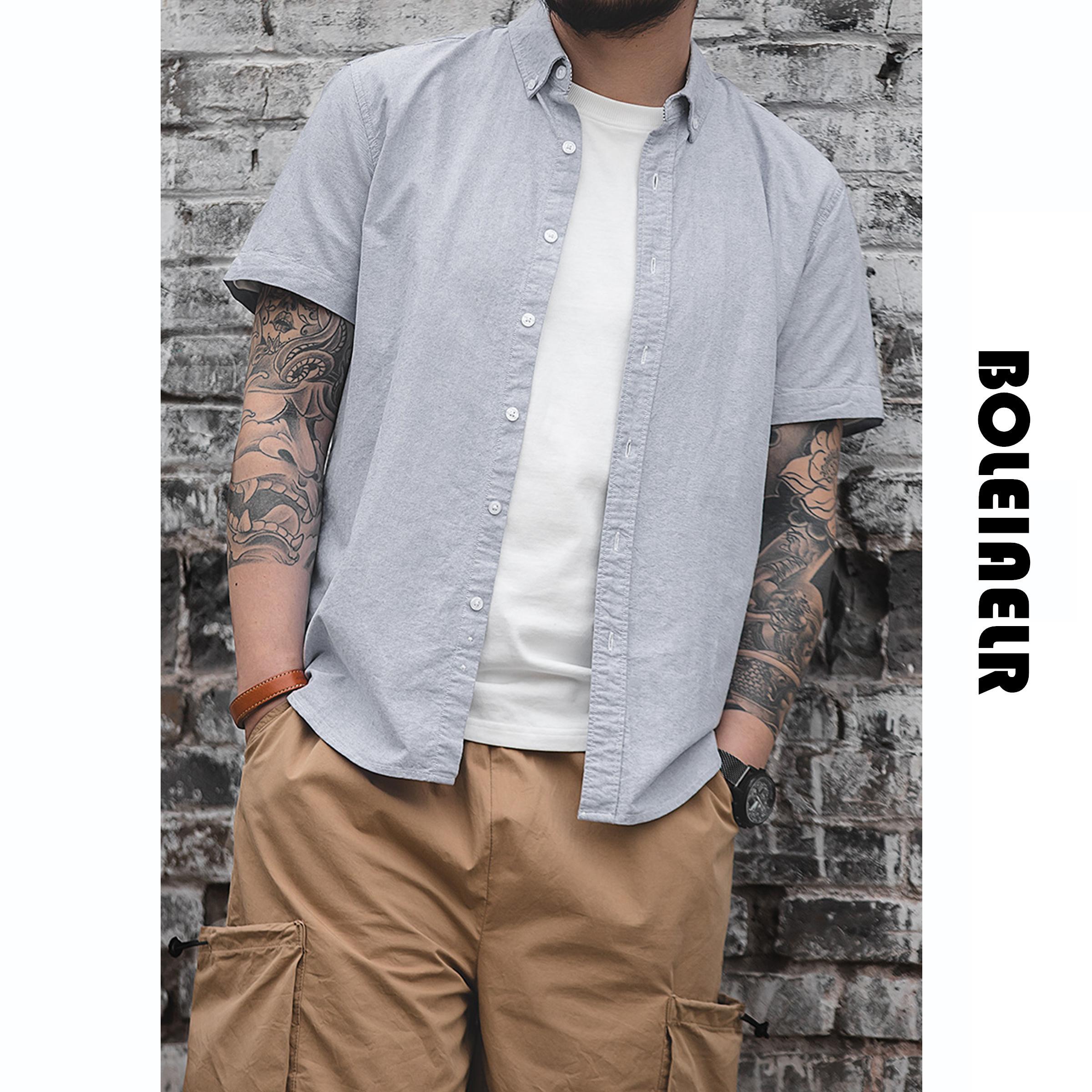 BOLEIAELR/透气舒适 松软 亲肤优选棉 牛津纺短袖衬衫男修身衬衣