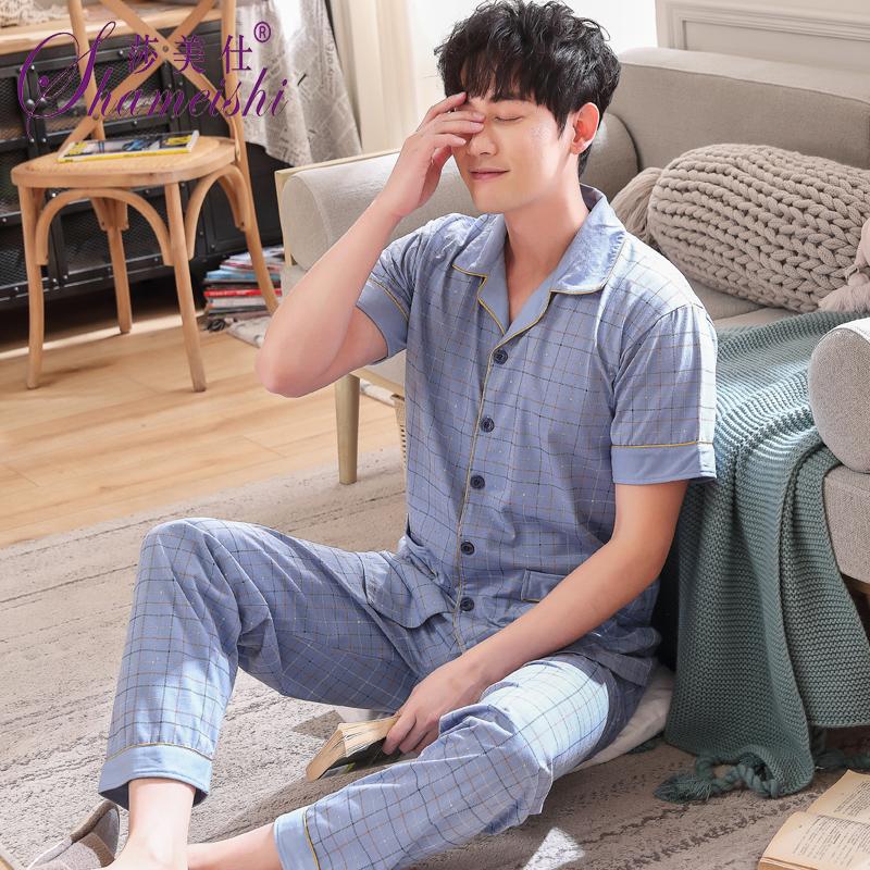 男士睡衣夏季纯棉短袖长裤薄款加肥加大码家居服开衫翻领全棉套装