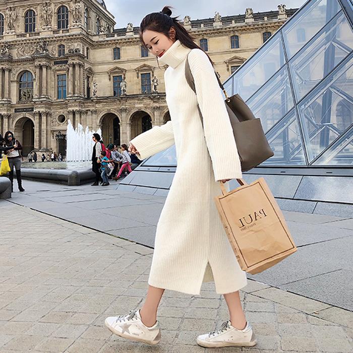 2018新款韩版春秋冬季高领内搭针织连衣裙女装中长款打底毛衣衫潮