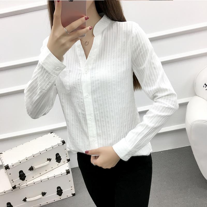 玫素V领白色衬衫女长袖竖条纹2018新款学生寸衫文艺纯棉衬衣