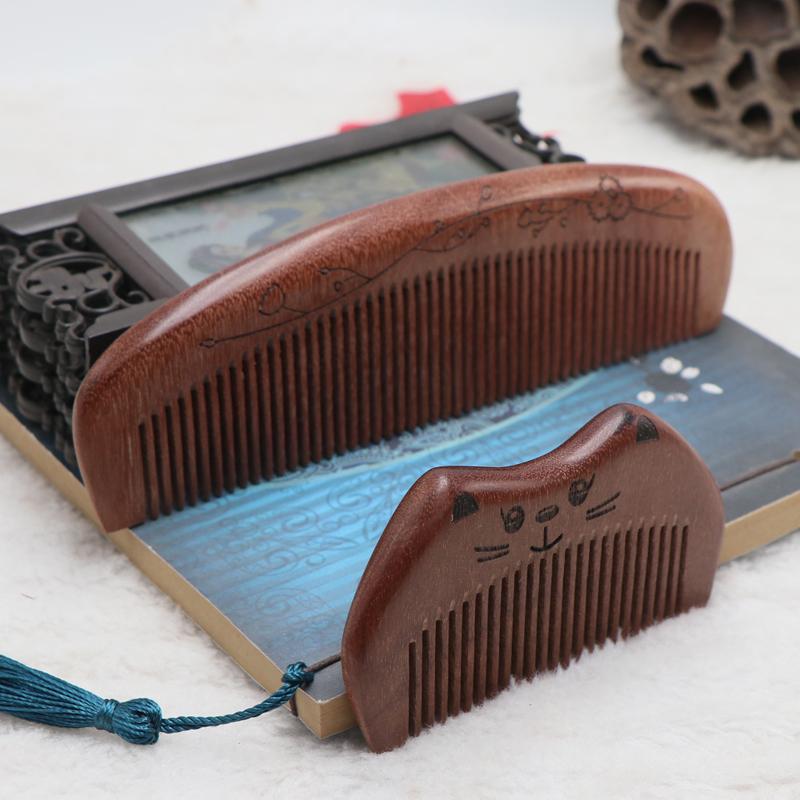 特厚大号天然檀木梳子防静电长发可爱按摩男女学生桃木梳家用头梳
