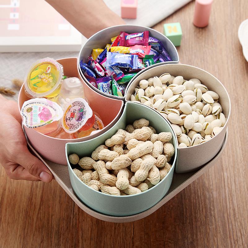小麦秸秆水果盘创意糖果盘客厅欧式多功能家用零食干果盘分格带盖
