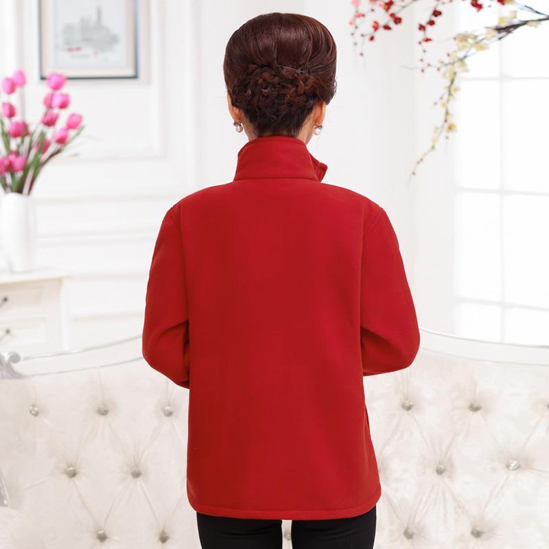 中年女冬装2018新款40岁50妈妈装秋冬加绒外套摇粒绒上衣老人衣服
