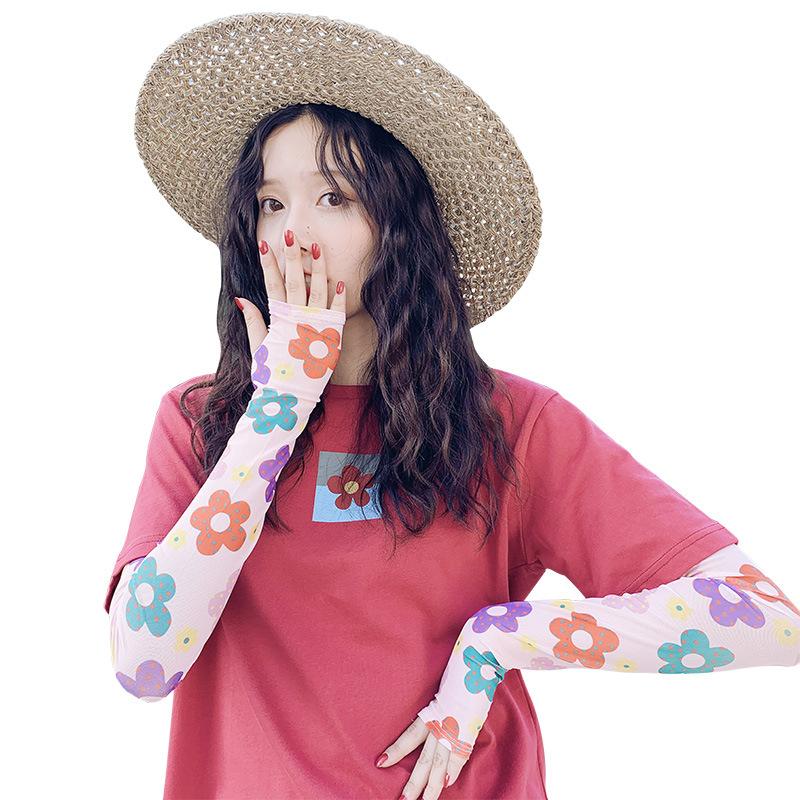 泫雅风冰袖防晒女泫雅ins韩国防晒手袖护臂防紫外线彩虹冰丝袖套