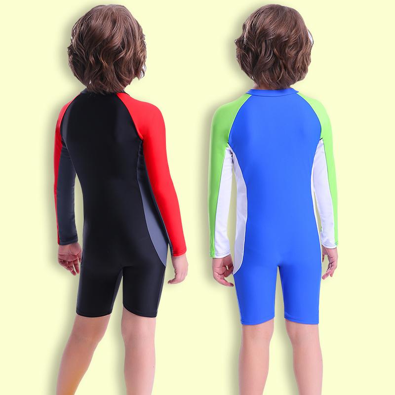儿童泳衣男童长袖游泳衣中大童小孩防晒连体全身泳装宝宝速干泳衣