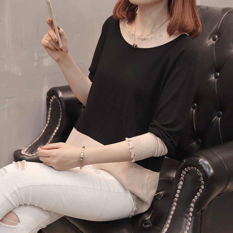 短款毛衣女圆领拼色上衣韩版休闲破洞打底衫秋季新款长袖针织衫