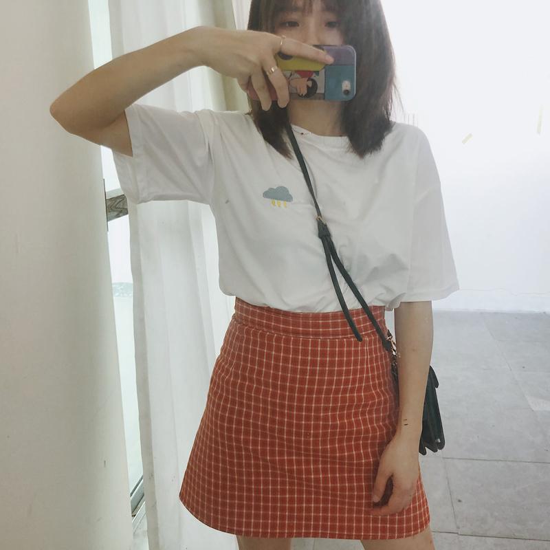 大码胖mm学院风复古包臀格子半身裙短裙ins超火学生高腰a字夏女