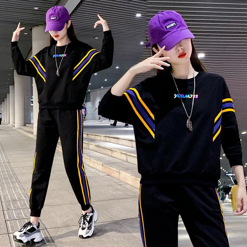 运动套装女秋装2020年新款夏季百搭韩版洋气时尚减龄休闲服两件套