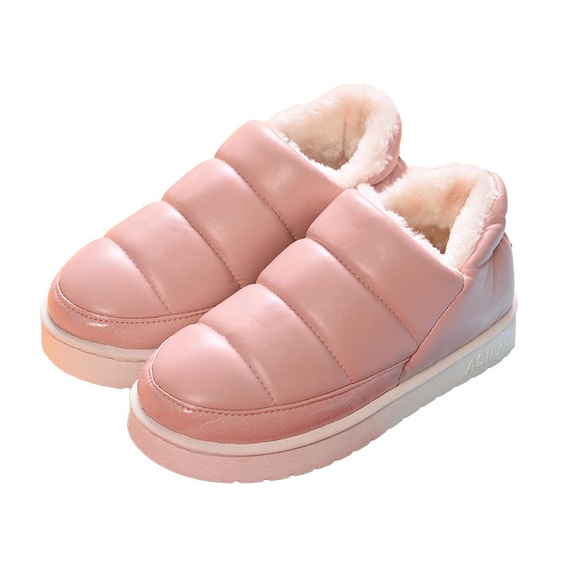 冬季棉拖鞋女包跟家用皮面防水情侣室内防滑保暖居家居厚底棉拖男