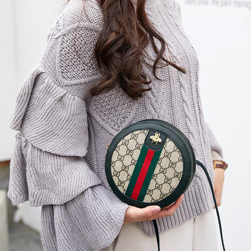 新款印花女包欧美时尚条纹小圆包手提单肩斜挎撞色包 第2件16.9