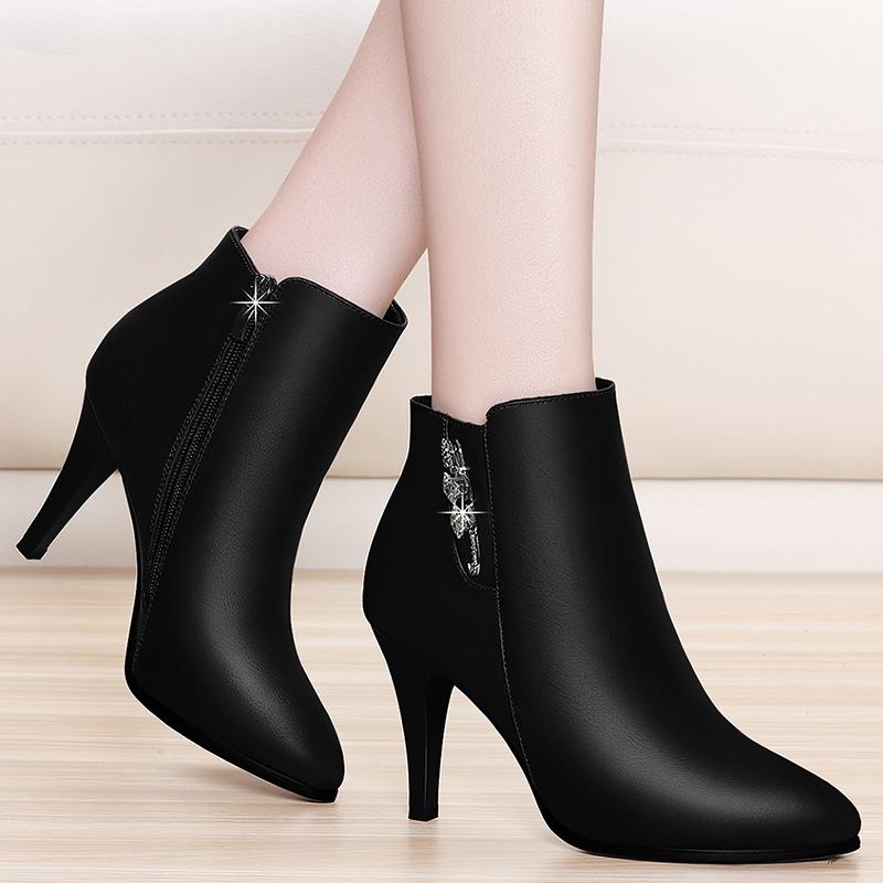 马丁靴女短靴英伦风靴子2019新款皮鞋细跟高跟鞋秋冬加绒鞋子冬季