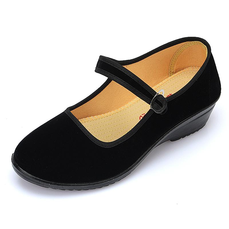 加绒厚底黑色老北京布鞋女平跟工作布鞋女防滑平底耐磨跳舞单鞋