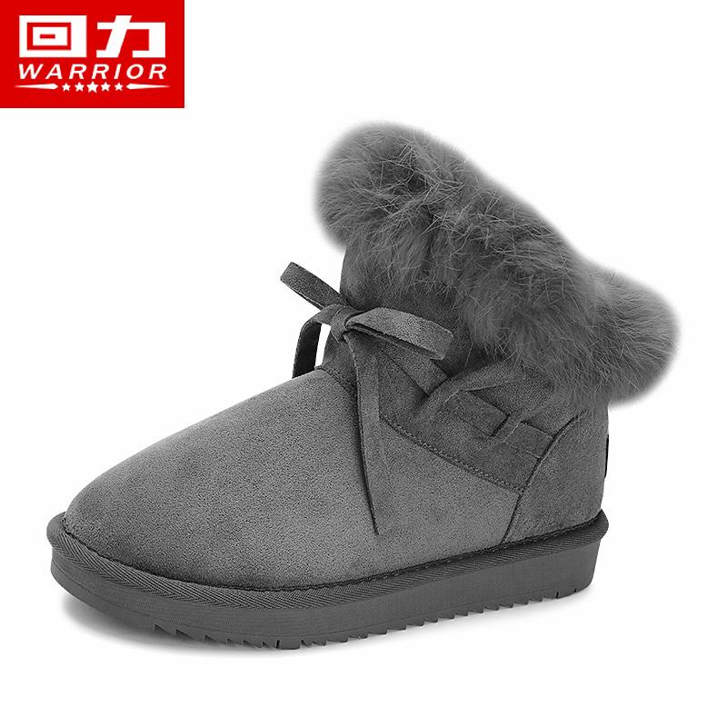 新款时尚短筒靴冬学生韩版加绒加厚保暖可爱棉鞋 2019 回力雪地靴女