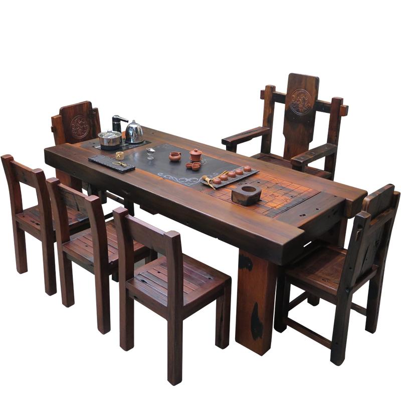 老船木茶桌椅组合中式仿古功夫茶几家用阳台小茶台实木家具泡茶桌