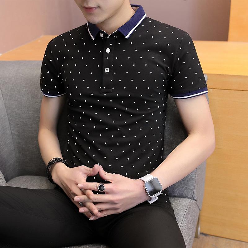 夏季潮流男装衬衫领POLO衫2019新款带领短袖T恤男翻领半袖衣服xh