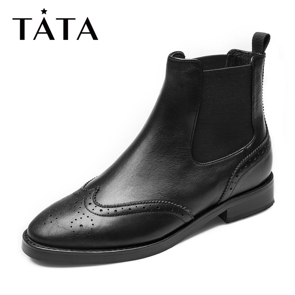 FOZ41DD8 冬新专柜同款方跟韩版休闲英伦风女短靴 2018 他她 Tata