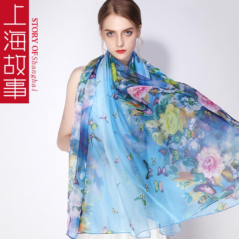 上海故事春天加长加宽冰丝丝巾女超薄长款围巾妈妈款春秋超大纱巾