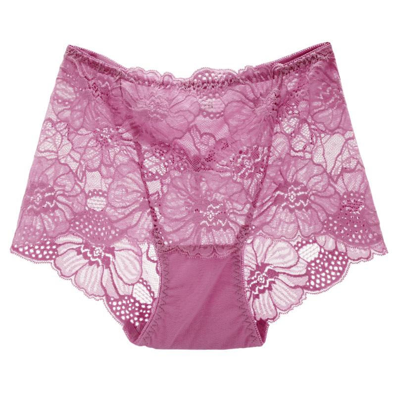 4条装 性感内裤女 蕾丝透明诱惑中腰收腹提臀无痕大码女士三角裤