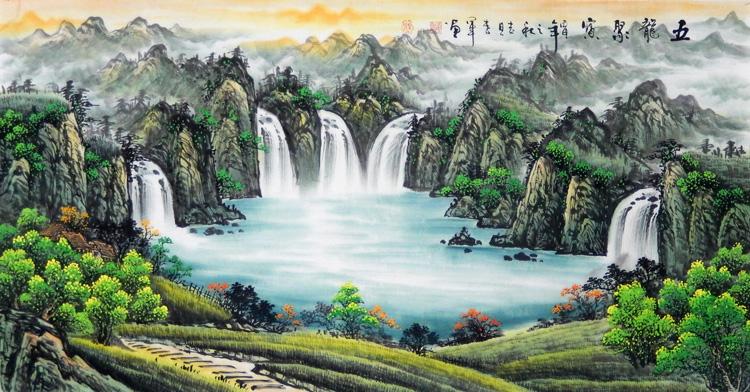 名家手绘真迹四尺聚宝盆山水风水画靠山办公室客厅装饰风景聚财画
