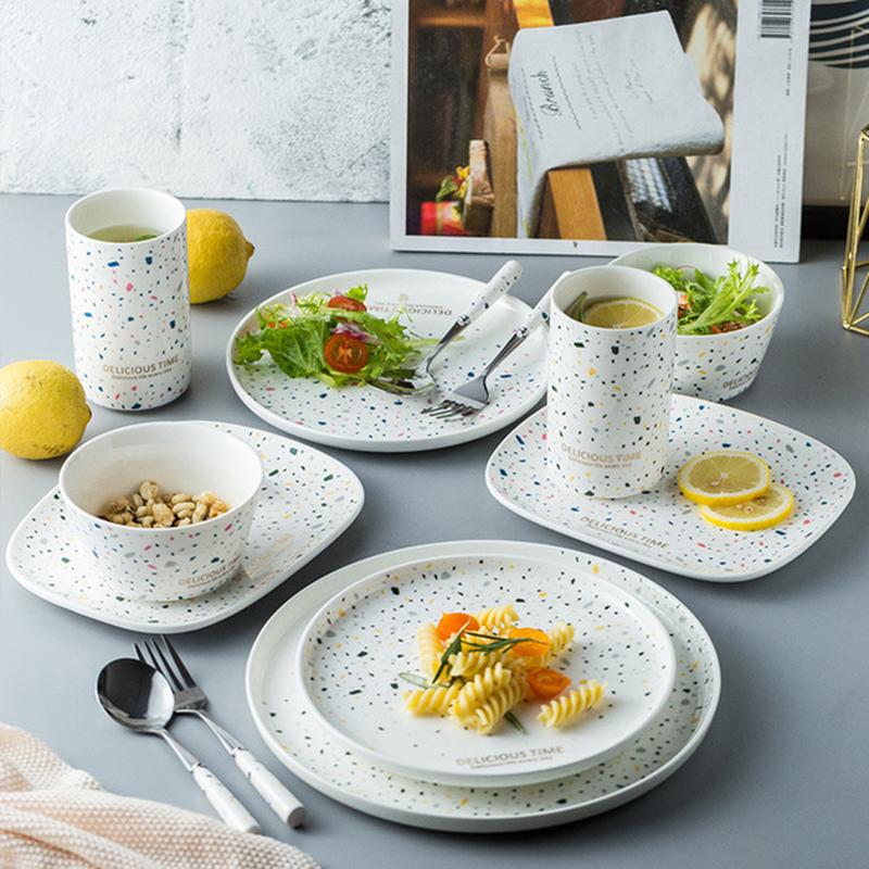 北欧创意ins风一人食早餐具陶瓷碗好看的盘子菜盘家用网红款套装