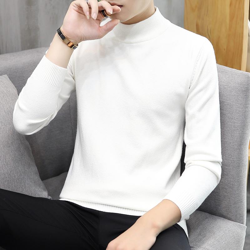 秋冬季半高领毛衣男韩版修身男士纯色打底衫潮流线衣帅气针织衫男