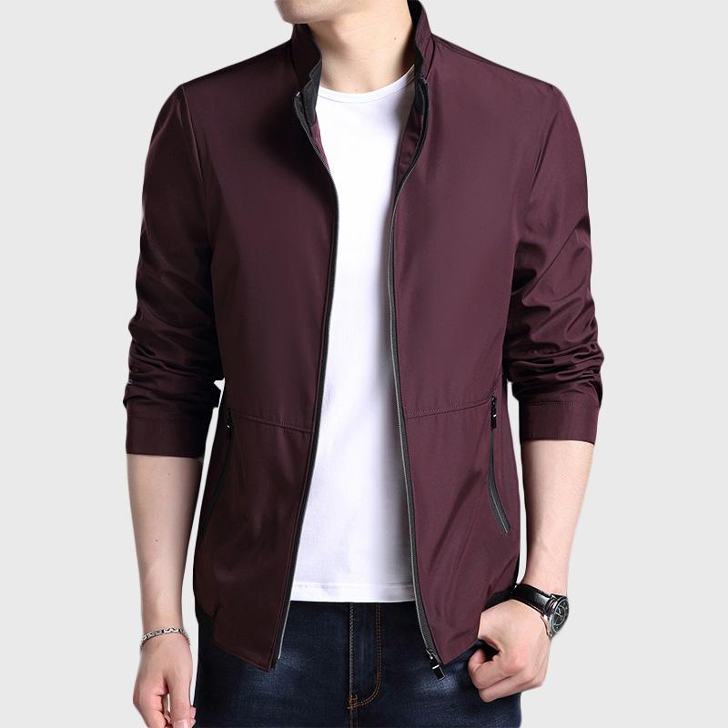 男士外套春秋季新款修身韩版纯色夹克男装时尚潮流棒球领上衣服