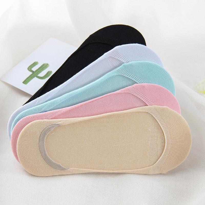 5双纯色超隐形袜女纯棉硅胶防滑夏季超薄女袜子船袜单鞋可爱吸汗
