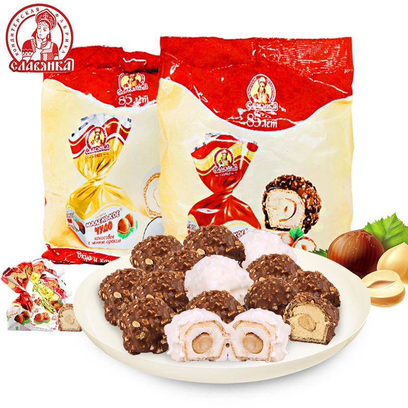 俄罗斯进口糖果slavyanka巧克力榛子仁夹心红奶罐糖500g