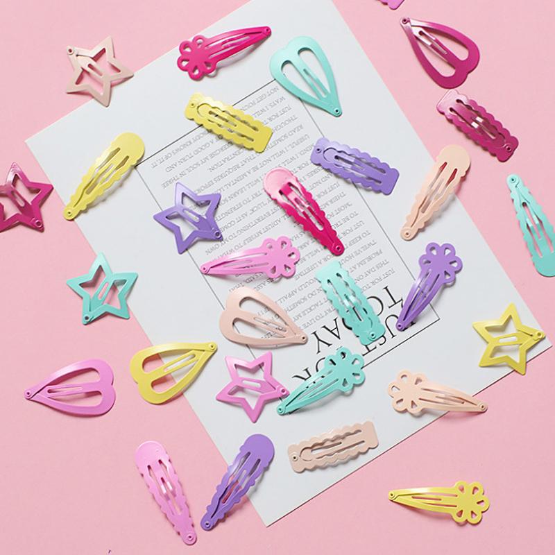 韩国可爱儿童边夹BB夹刘海夹碎发夹粉色糖果烤漆星星爱心女童头饰