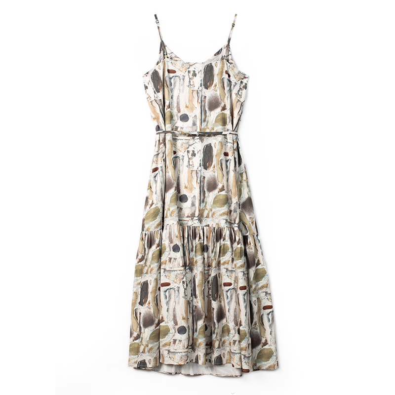 k家 法式气质吊带连衣裙女轻熟垂感雪纺长裙秋季印花心机显瘦裙子