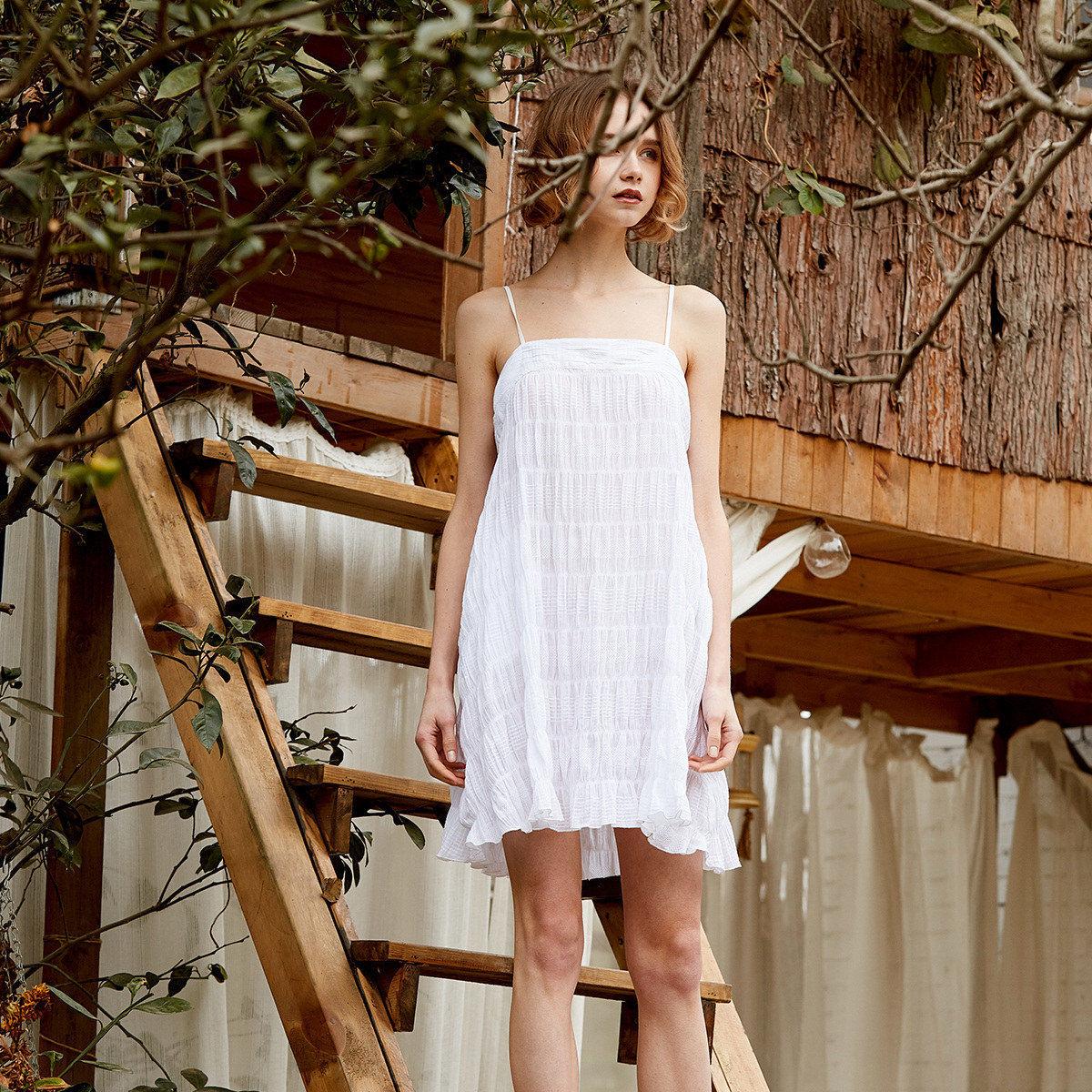 PJM睡裙女夏性感睡衣纯棉女褶皱吊带公主风抹胸度假可外穿连衣裙