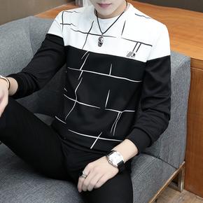 秋季新款长袖卫衣男青年韩版圆领潮流长袖t恤男秋衣罩衫上衣服男