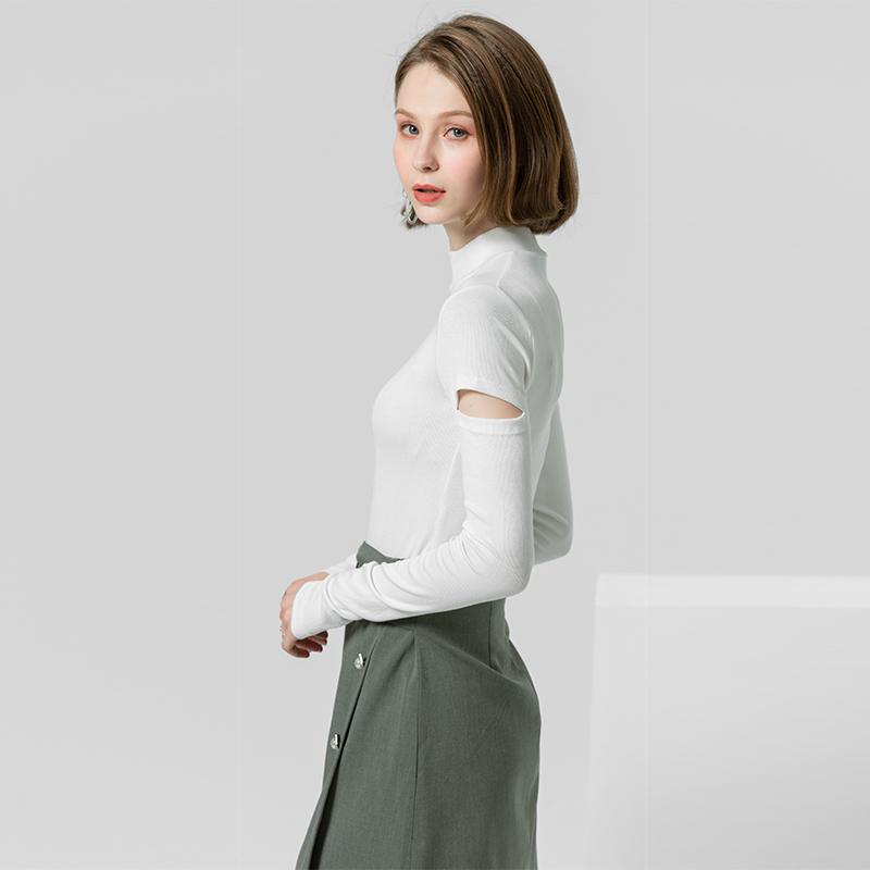 打底衫女2019秋季新款高领修身弹力针织衫小众设计感百搭长袖上衣