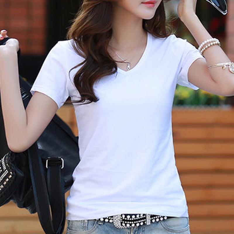 21夏装新款女装打底衫纯色半袖体恤修身棉质白色t恤女短袖上衣
