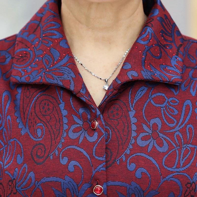 奶奶装秋装长袖衬衫60岁中老年人女春秋外套70妈妈夏装老人上衣服