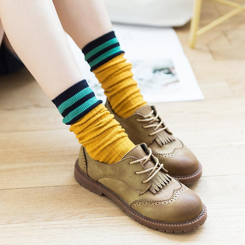 堆堆袜女秋冬袜子女长筒袜日系ins潮韩国学院风二杠条纹纯棉中筒