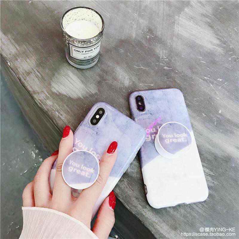 文艺拼色抖音支架苹果x手机壳iphone7/8plus硅胶软壳6s防摔女款潮