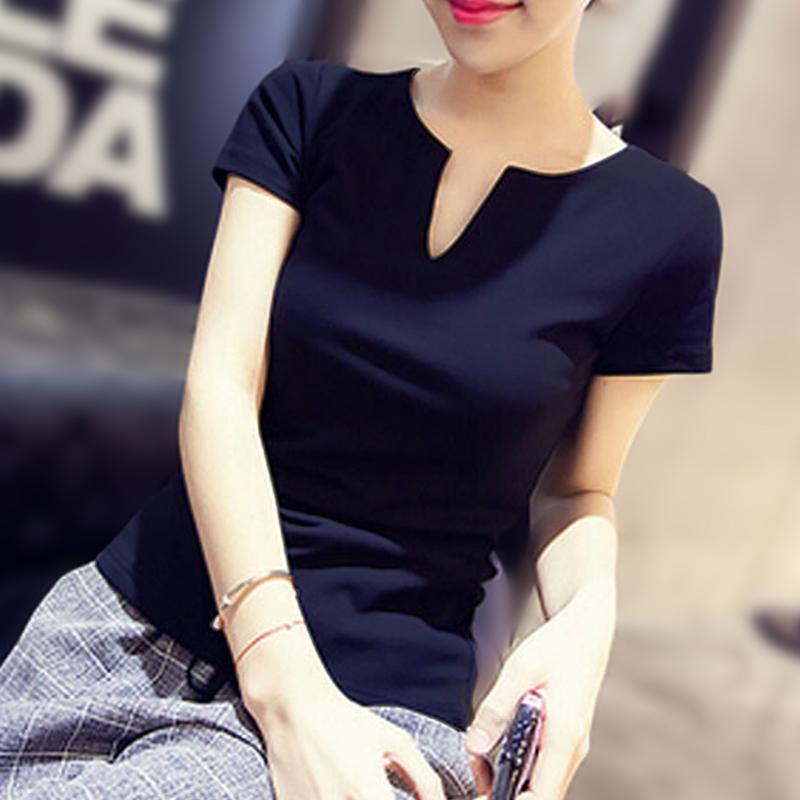 新款韩版修身小V领女装T恤白色短袖打底衫女春夏棉黑色百搭上衣