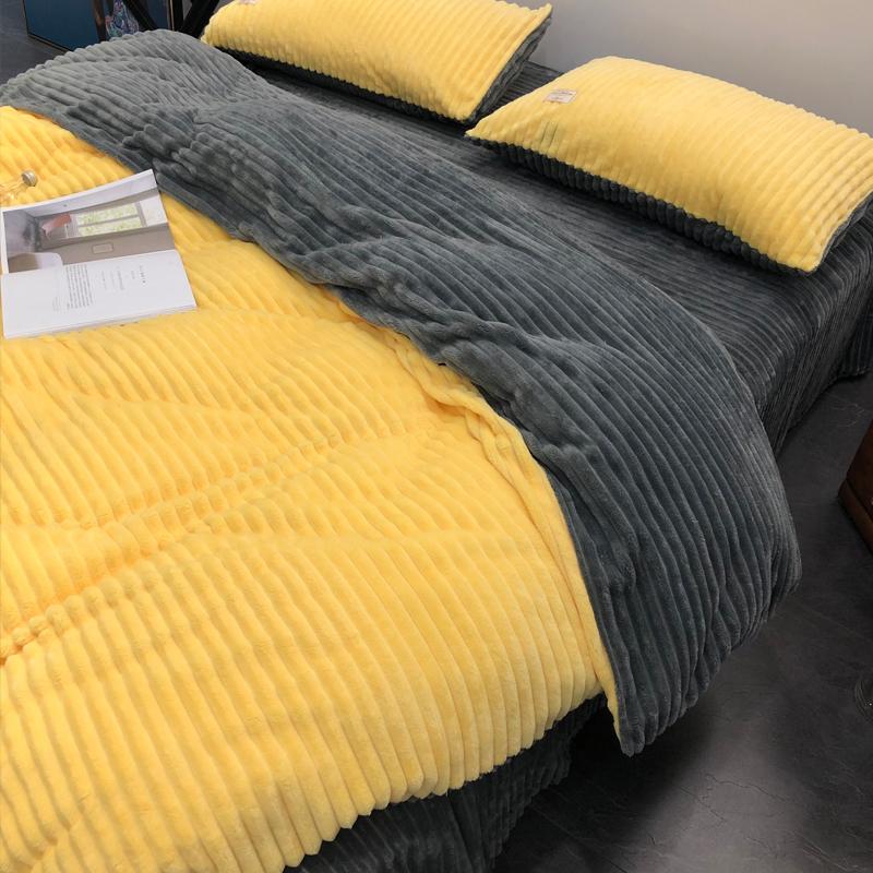 秋冬加厚保暖四件套加绒床单被套法莱绒珊瑚绒1.8m床上用品水晶绒