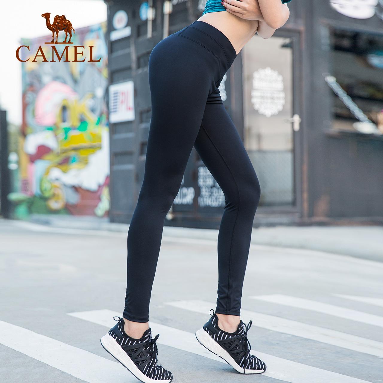 骆驼高腰紧身裤瑜伽裤女蜜臀裤弹力提臀长裤跑步健身裤速干运动裤