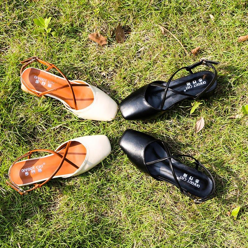 2018夏季新款凉鞋女仙女的鞋子粗跟温柔凉鞋韩版玛丽珍鞋韩版百搭