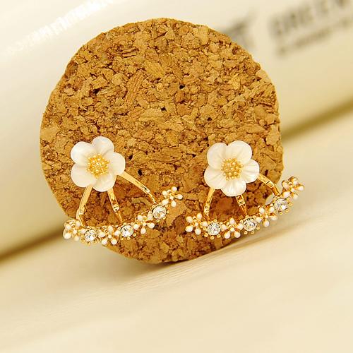 925纯银针贝壳花朵耳钉女 气质 韩国镶钻后挂式耳环花朵款 日韩版
