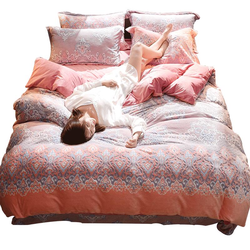珊瑚绒四件套双面绒法兰绒加绒加厚床单水晶绒被套床上四件套冬季